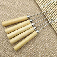 Wooden Handle Sewing Awl Hand Stitcher Leather Canvas Tool Sewing Needle HooD$N