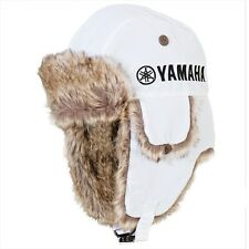 Yamaha Glacier Basin Faux Rabbit Fur Hat in White w/ Yamaha Logo - One Size