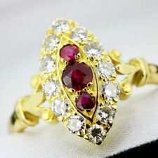 Vintage 18ct Yellow Gold Ruby and Diamond Ring