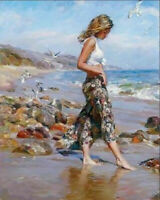 CHENPAT931 fashion lady at the seaside&birds  hand oil painting art on canvas