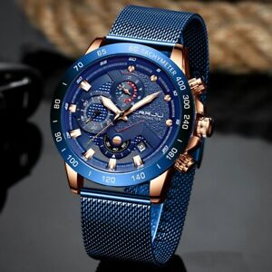 LIGE Automatic Mens watch Chronograph Quartz Luxury Stainless Steel Waterproof