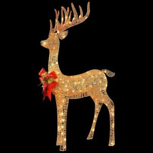 4ft Gold  LED Rudolph reindeer Red Bow Christmas Indoor Outdoor Yard Prop Decor