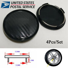 4Pcs Carbon Fiber Look ABS 60mm/58mm Car Wheel Center Hub Caps Decorative Cover