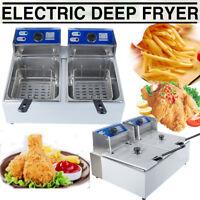 11L Electric Dual Tank Deep Fryer 5000W Commercial Restaurant Kitchen Equitment