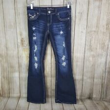 Amethyst Womens Flare Jeans Size 9 Juniors Distressed Destroyed Dark Wash
