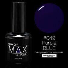 MAX 15ml Soak Off Gel Polonais Nail Art UV LED Couleur # 049 - Purple Blue