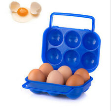 Portable 6 Eggs Plastic Container Holder Folding Egg Storage Box Handle Case JIt