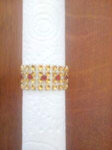 8 Gold Diamante mesh napkin rings with red rhinestones for Weddings, Xmas