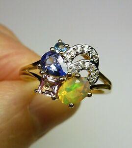 0.84 ct Natural Opal, Tanzanite, Aquamarine 10K Yellow Gold Cluster Ring Size 8