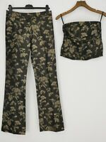 Karen Millen 2 Piece Tube Top 12 Trousers 10 Dark Chocolate + Gold Chinese Silk