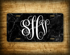 Personalized Classy Black Marble Monogrammed License Plate Customized Initials