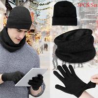 Men Women Winter Beanie Hat Scarf Knit Set Snow Skull Cap Touch Screen Gloves
