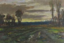 Paul Courreau, pastel paysage du Bazadais en Gironde. Bazas
