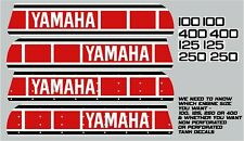 YAMAHA YZ 100 125 250 400 TANK & SIDE PANEL DECALS 1977 - 1980