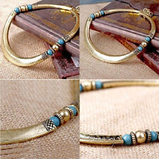 Women New Vintage Retro Bronze Curved Punk Metal Choker Collar Fashion Necklace