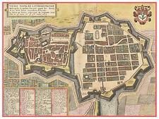 Nancy Meurthe-et-Moselle Lorraine France bird's-eye view map Hogenberg ca.1617