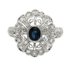 FINE 14K WHITE GOLD PAVE BLUE SAPPHIRE ANTIQUE VINTAGE STYLE COCKTAIL RING