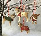 Gisela Graham Dog Decoration With Coats & Santa Hats Christmas Tree Resin Red