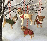 Gisela Graham Dog Decoration With Coats & Santa Hats Christmas Tree Resin Red
