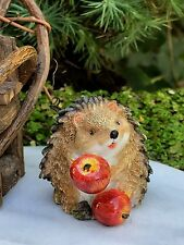 Miniature Dollhouse FAIRY GARDEN ~ Mini Hedgehog Figurine Sitting w Apple ~ NEW