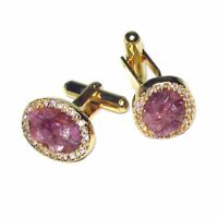 Gold-Tone Mens CuffLinks Cherry Color Stones Cuff links
