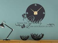 Wandtattoo Uhr Wanduhr Zitat / Spruch Nimm Dir Zeit um glücklich zu sein.