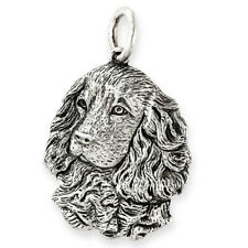 More details for solid sterling silver spaniel dog pendant (handmade uk, also in gold)