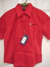 RADIO SHACK Sewn Ladies Molton Red Button Front Shirt S/P Ash City New Tags