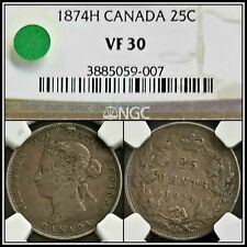 1874-H Silver Canada 25 Cents NGC VF30 Quarter Dollar Vintage 25c Classic Coin