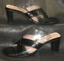 Donald J Pliner Vone black croc print open toe mules sandals heels size 6 1/2 M