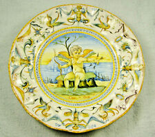Early 19thc Cantagalli Majolica Chereb / Putti  Plate - Renaissance Style