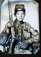 civil war Military soldier With Rifle tintype C067RP
