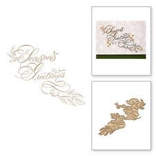 Seasons Greetings HOT FOIL PLATE Silver Metal Cutting Dies DIY Cards Scarpbookin