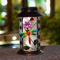 Solar Lantern Lights Outdoor Hanging Dragonfly Retro Metal LED For Outdoor Table
