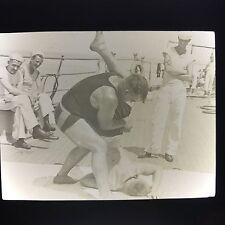 Antique Magic Lantern Glass Slide Photo Gay Interest Navy Men Wrestling