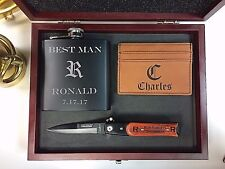 5 Personalized Custom Gift Set Flask, Knife, Money Clip Groomsmen Wedding Gift