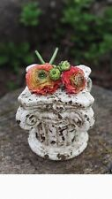 Shabby Chippy Vintage Look White Painted~Terra Cotta Column Display Stand