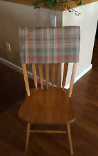 Square Back Chair Top Slipcovers - Set of 6 - Light Plaid - Hand Made - 20x12 In