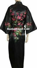 Embroidered Floral Design Handmade Silk Satin Kimono Robe w/ Waist Tie, Black