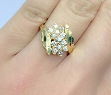 14k Solid Yellow Gold Cluster Diamond Ring 0.60 CT, Sz 6.75