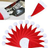 5/20Pcs Christmas Decorative Tableware Fork Set Christmas Hat Storage Hat Gift