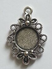 New 12MM Round Tibetan Antique Silver Plated Cabochon Setting Pendant 2PC. DIY