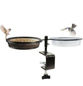Balcony Bird Feeder and Bath, Metal Mesh Tray for Clamp to Fance Railing