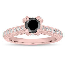 Vintage Style Enhanced Fancy Black Diamond Engagement Ring 14K Rose Gold 1.00 Ct