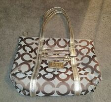 COACH Poppy Glam Tote Signature Khaki Canvas Shoulder Bag Purse 13826 Gold Lurex