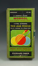 VINTAGE EBERHARD FABER MONGOL, NO, 743 EXTRA STRONG THIN LEAD PENCILS, 24 COLORS