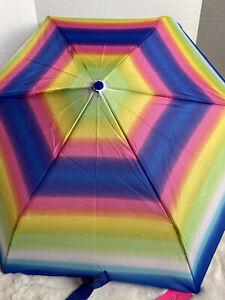"Betsey Johnson Auto Umbrella Rainbow Tie Dye 43"" Coverage Designer Colorful NWT"