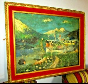 Antique Framed Landscape Oil Painting On Canvas. Signed