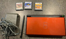 Nintendo DS Lite Red/black Handheld Console W/ Orig. Charger.3 Games. Tested*