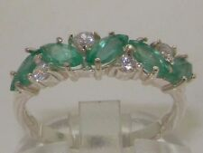 Emerald Eternity Natural White Gold Fine Rings